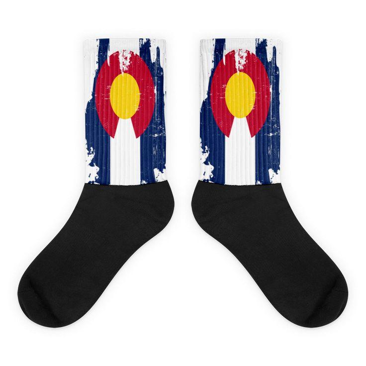 Colorado Grunge Black Foot Socks