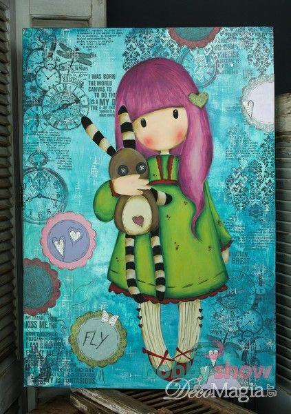 Κοριτσάκι Gorjuss ζωγραφισμένο με easy painting σε μεγάλο καμβά! Gorjuss girl on a canvas with easy painting technique!