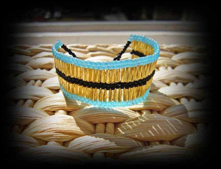 Golden turquise summer bracelet,beaded,handmade