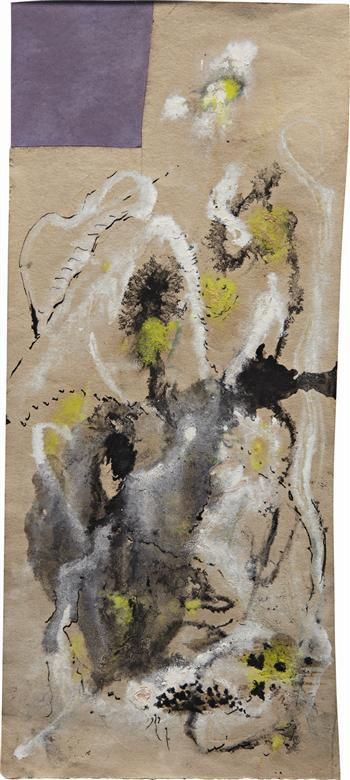 """Jackson Pollock (American, 1912 - 1956) Untitled 1947 - 1948  Materials: Oil and gouache on paper  Measurements: 12.99 in. (33.00 cm.) (height) by 5.12 in. (13.00 cm.) (width)  Markings: Signed and dated """"Jackson Pollock 1947-8, Lee Krasner Pollock Oct 1957"""" on the reverse. jr  CR 1020"""