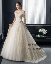 Новое поступление с плеча шампанское свадебные платья с цветом роскошные кружева аппликации ручной работы цветы свадебное платье(China (Mainland))