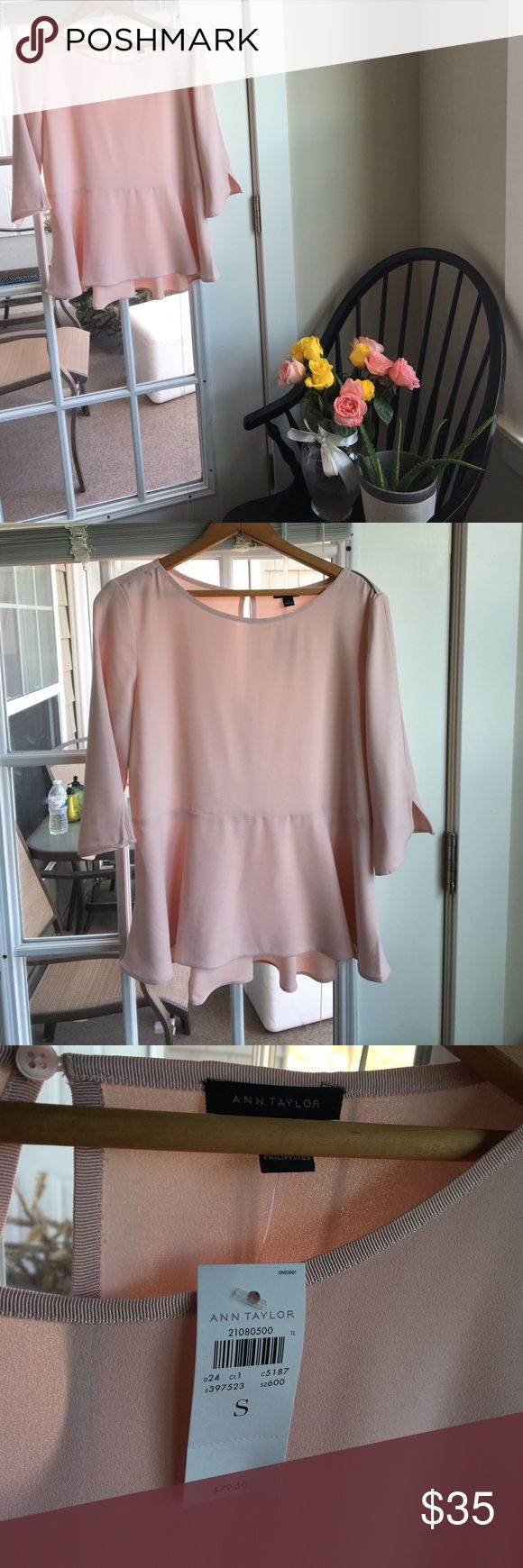 Ann Taylor light pink peplum top Quarter sleeve and light this pink peplum top is a delightful addition to your work or Sunday brunch wardrobe. Brand new with tags! Ann Taylor Tops Blouses