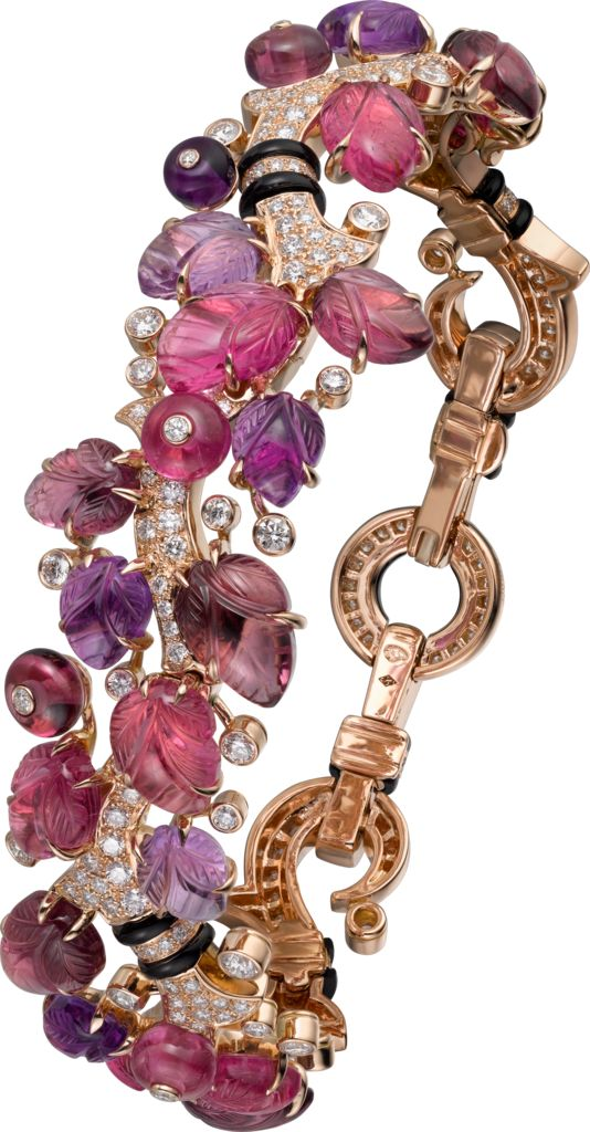 CARTIER. Bracelet with engraved stones, 18K pink gold, set with rubellites, amethysts, garnets, onyx and 304 brilliant-cut diamonds totaling 2.88 carats. (P.R.P. $172,000).