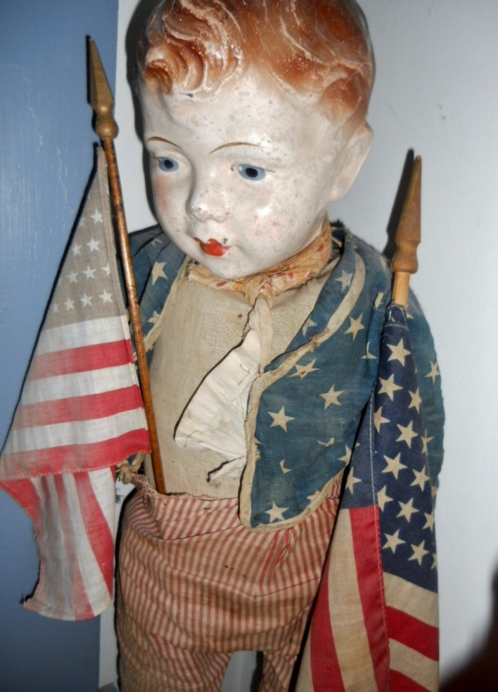 Vintage American Flag Carrying Lad