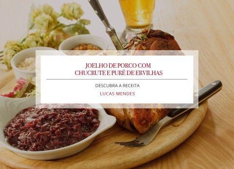 IngredientesJoelho de porco- sal a gosto- água filtrada, o suficiente para cobrir o joelho de porco- 1 joelho dianteiro suíno de aproximadamente 700 gChucrute- 1 repolho verde cortado em tiras- 1 1/2 colher(es) de chá de sal- 200 grama(s) de bacon em cubos- 2 cebolas cortadas em tiras- 1 colher(es) de chá de mostarda branca em grãos- 1 colher(es) de chá de erva-doce em grãos- 1 litro(s) de cerveja do tipo WeissbierPurê de ervilhas- 50 grama(s) de bacon defumado- 100 grama(s) de ervilha…