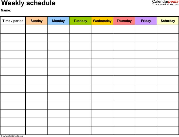 Weekly schedule template for Word version 13: landscape, 1 page, Sunday to Saturday (7 day week), in color
