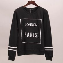 Fatos de treino com capuz da camisola hoodies mulheres LONDON PARIS impresso outono inverno de t mulheres tops esporte(China (Mainland))