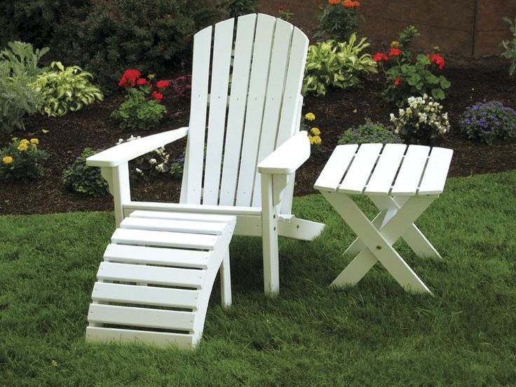 Painted Adirondack Chair, Ottoman, And Side Table   Great For Outdoor  Relaxation On The