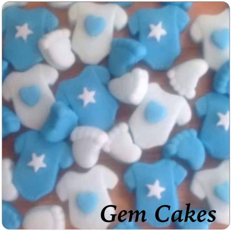Edible baby Shower christening Blue mix baby feet  and vests cupcake toppers decorations for Boys