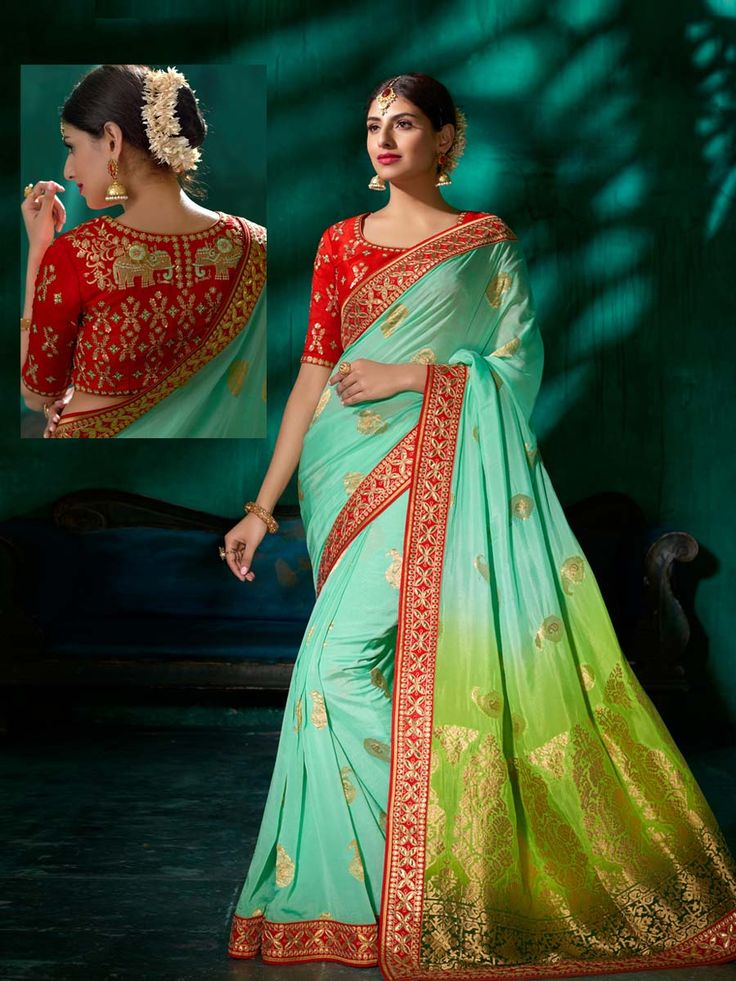 Phenomenal pure viscose saree in aquamarine, light green with worked patch border will give yourself charming look. Simple yet elegant design will make you an icon of beauty.
