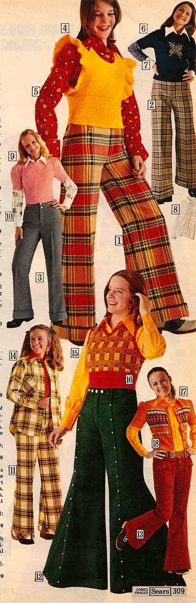 1970's clothes - bell bottom pants and vests.