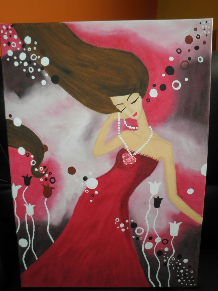 obraz malovaný olejovými farbami dievča