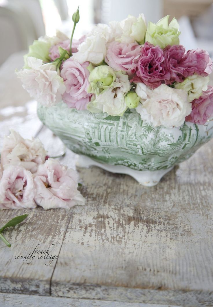FRENCH COUNTRY COTTAGE: Transferware Tureen Bouquet