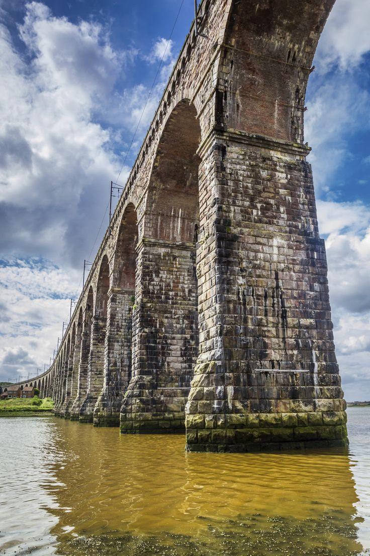 The Royal Border Bridge crossing the River Tweed in Berwick-upon-Tweed.