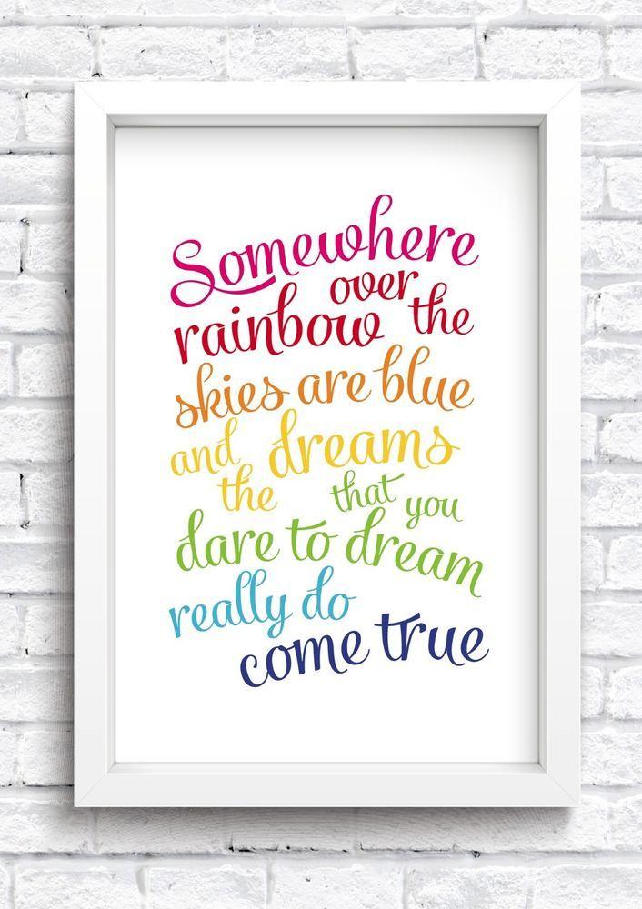 Somewhere Over The Rainbow Framed Print Keepsake New Home New Baby Nursery in Baby, Nursery Decoration & Furniture, Walls Decoration | eBay!