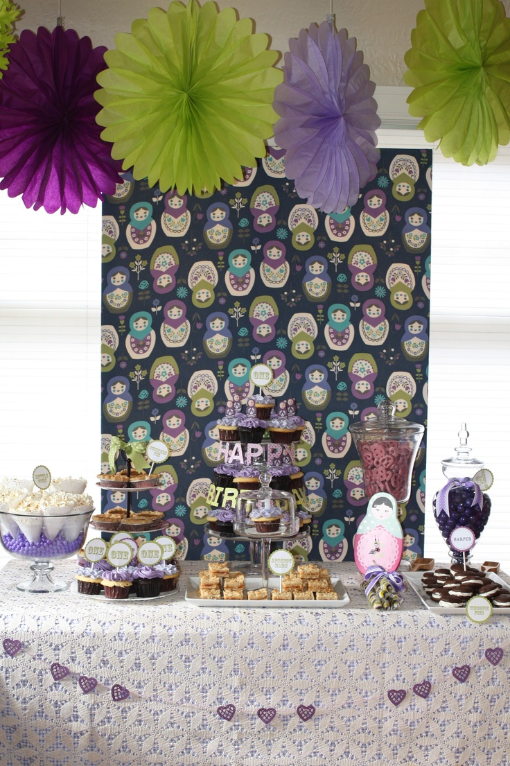 Dessert table, Russian doll, girls birthday, first birthday, nesting dolls, green, purple, navy, party theme
