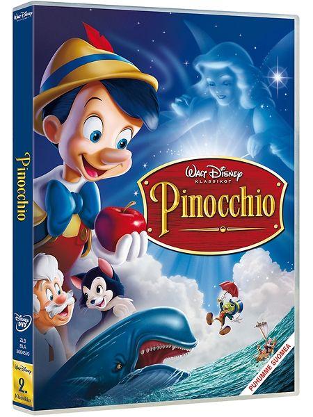 Tarina täynnä mielikuvitusta ja taikaa saa alkunsa eräänä yönä nukentekijä Geppetton verstaalla. Geppetto on hartaasti toivonut omaa poikaa ja niinpä Sininen haltijatar herättää puunukke Pinocchion henkiin. Pinocchiolla on kuitenkin paljon opittavaa oikean pojan elämästä, ja niinpä hän saa avukseen ja omaksitunnokseen Samu Sirkan. Kesto 1 t 28 min. Pinocchio-dvd