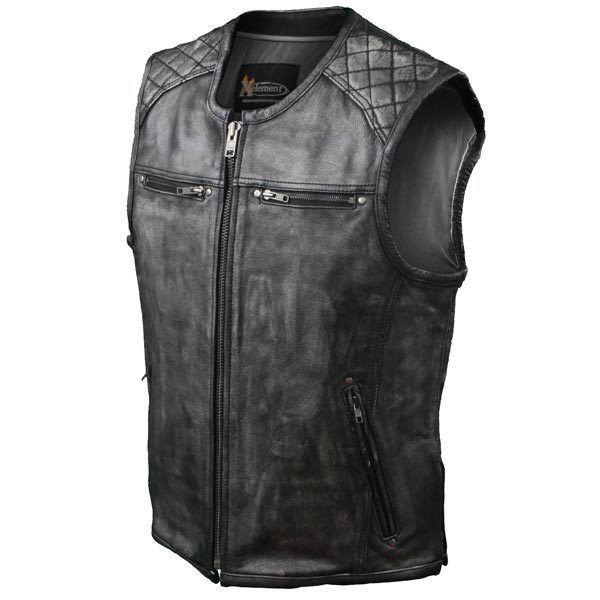 Xelement Urban Armor Men's Thick Grey Quilted Shoulder Leather Motorcycle Vest  #Xelement #BikerVest