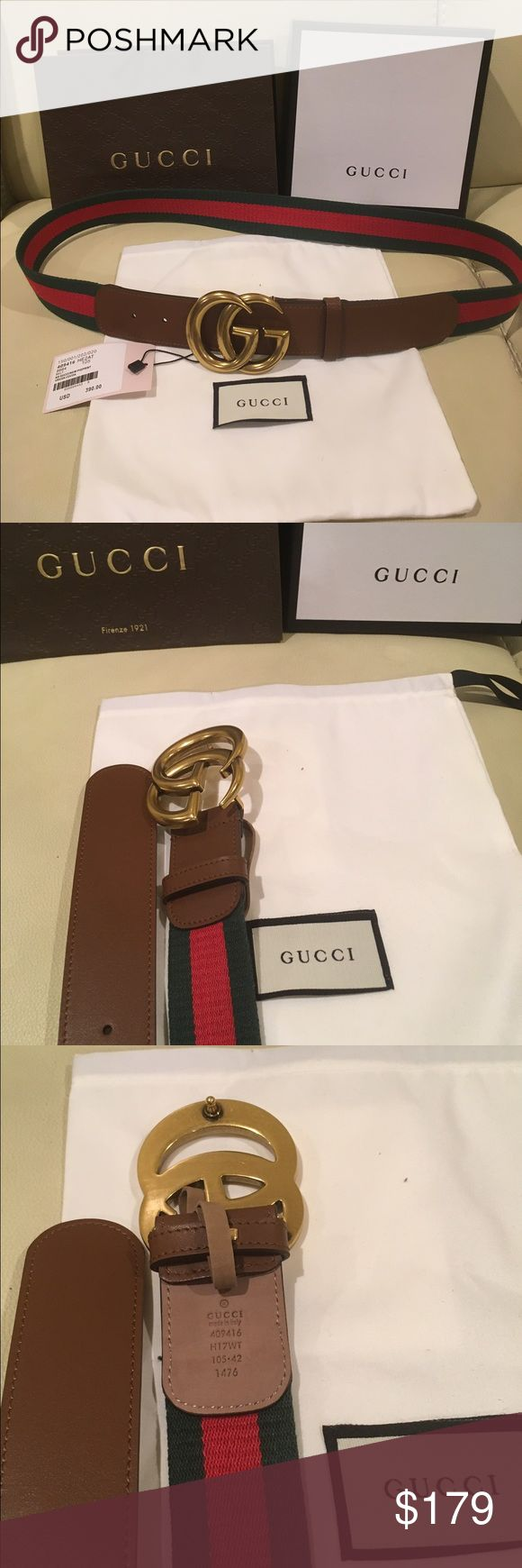 NWT New Gucci Web Belt With Double G Buckle 100% Authentic Signature Web Canvas Belt with a textured leather trim and Double G buckle looks like vantage  Buckle is Antique brass toned hardware like a Gold look into it Green and Red cotton canvas Web with brown leather detail Double G buckle Made In Italy  These Gucci belts runs in different sizes please willy ship within 24hours very fast shipping Please message me with what size you need thank you!!! Gucci Accessories Belts