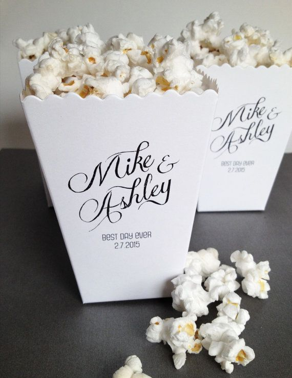 Popcorn Bars are such a fun, unique refreshment for your wedding reception! At Lisa's Passion for Popcorn we have a number of wedding packages, we do custom colors, and have about 80 flavors to choose from! Come #discoveryourpassion and let us help make your wedding picture perfect! Mini Popcorn Box Wedding Favor Printed Matte by ericksondesign