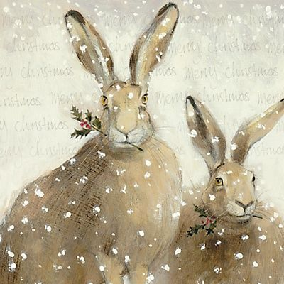 Christmas Hares   Content in a Cottage
