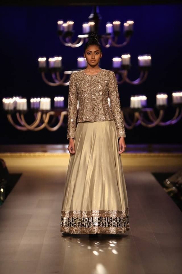 Manish Malhotra at India Couture Week 2014 - lehnga with glitter jacket blouse