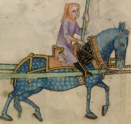Detail from The Luttrell Psalter, British Library Add MS 42130 (medieval manuscript,1325-1340), f181v