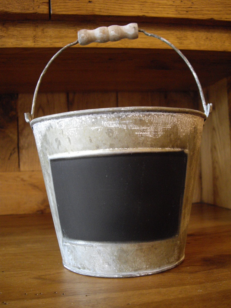 Rustic blackboard buckets - great for centre pieces