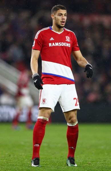 Rudy Gestede of Middlesbrough in aciton during the Premier League match between Middlesbrough and West Bromwich Albion at Riverside Stadium on January 31, 2017 in Middlesbrough, England.