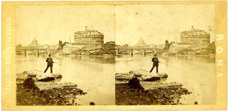 Stereograph of fisherman on the Tiber, Castel Sant'Angelo, Rome