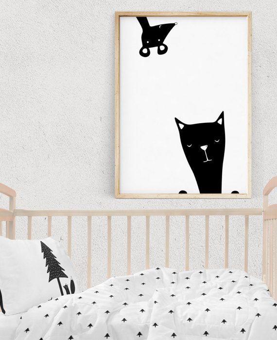 Kids Wall Art, FRIENDS Print, Monochrome Nursery, Black and White Prints, Kids Posters, Cat Lovers Printable Gift, Digital Download
