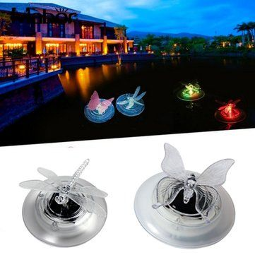 4.47USD Solar Power Swimming Pool Pond Color Changing Water Floating Lamp Butteryfly Dragonfly LED Light