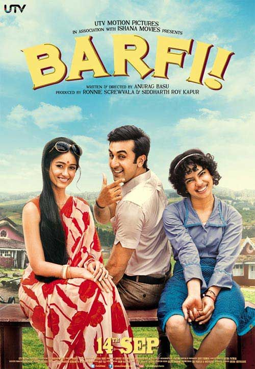 Barfi! 2012. Ranbir Kapoor, Priyanka Chopra and Ileana D'Cruz...Benny and Joon Go To Bollywood! First of all, hate the name (Barfi????). Second of all, lots of flashbacks to keep sorted out. Third, loved it! Priyanka did a great job playing an autistic girl. Ileana was gorgeous. Ranbir plays a charming deaf mute. Minimal subtitles to wade through (none for the songs, except for the one before the film starts).