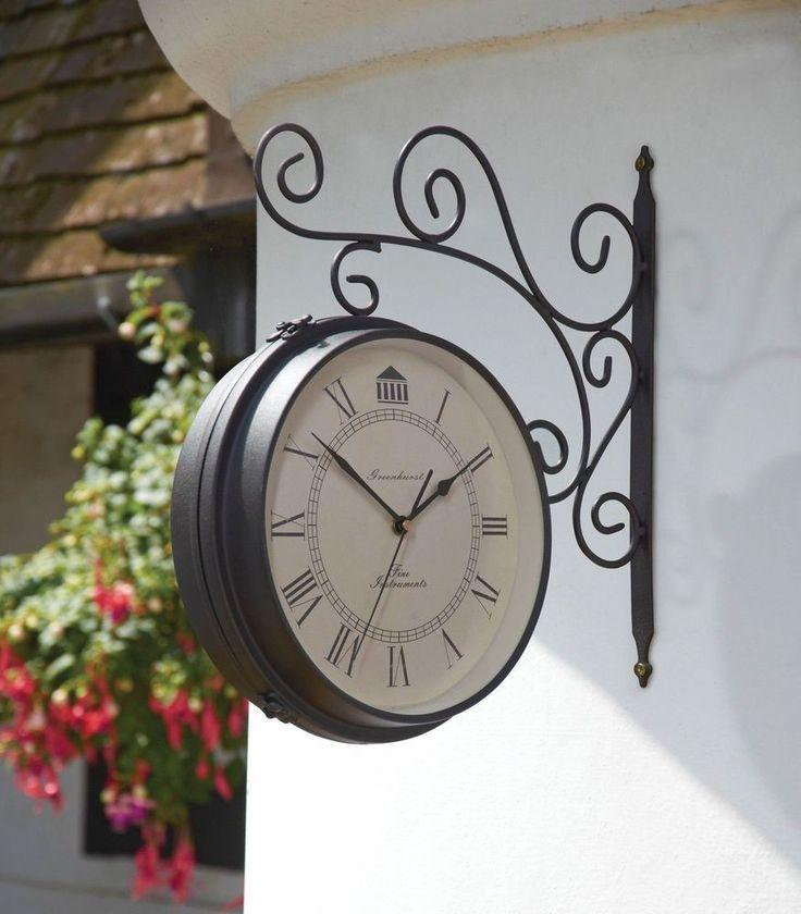 Garden Clock Barometer Weatherproof Bracket Victorian Antique Design Case  Steel