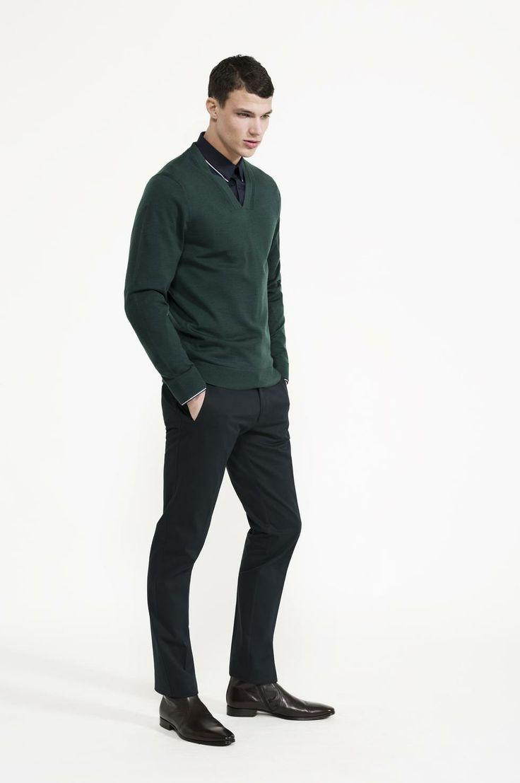 Calibre - Contrast Collar Shirt | Merino Deep V | Key Pant | Doucal's Red Boot