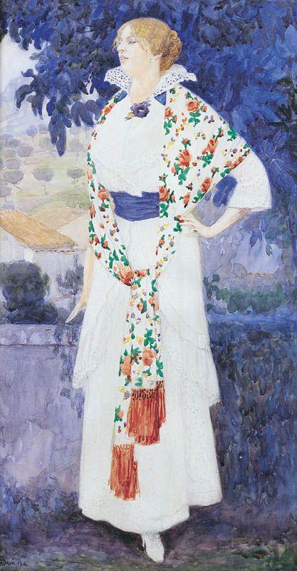 Edward Okuń - Portet Zofii, żony artysty