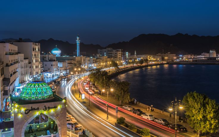 Lively Commercial District of Muttrah - The Muttrah Souk along the Sultan Qaboos Port, Corniche in downtown Muscat after sunset.