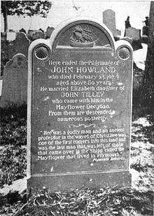 John Howland: Mayflower Passenger. (fell overboard) Photo of a maker for John Howland on Burial Hill, Plymouth, Massachusetts