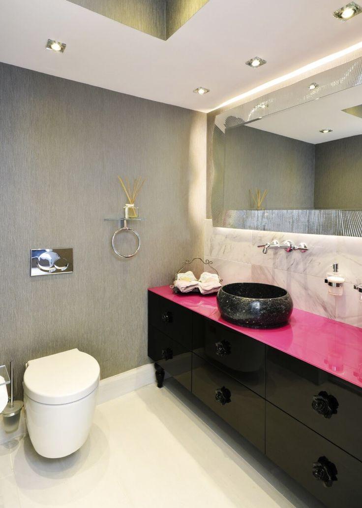 Black vanity with hot pink top bathroom ideas for Black and pink bathroom ideas