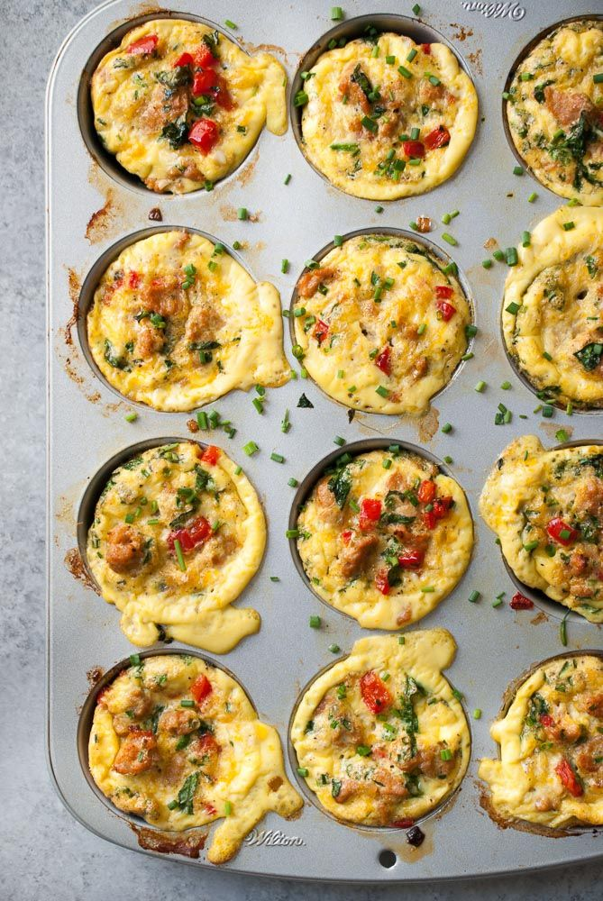 Frittata Muffins with Chicken Sausage, Spinach, and Bell Pepper