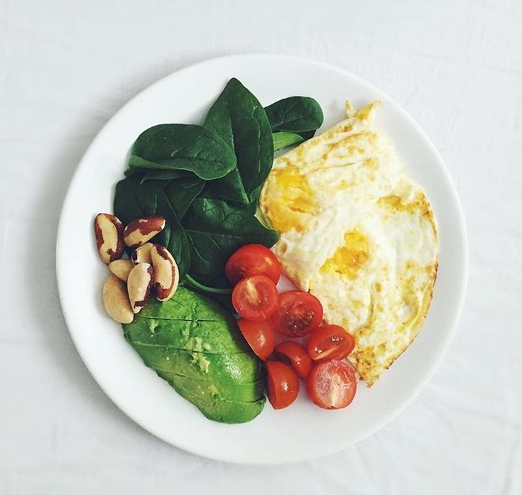 Healthy breakfast- 2 eggs, 1/2 avocado, cherry tomatoes, spinach, and plain nuts