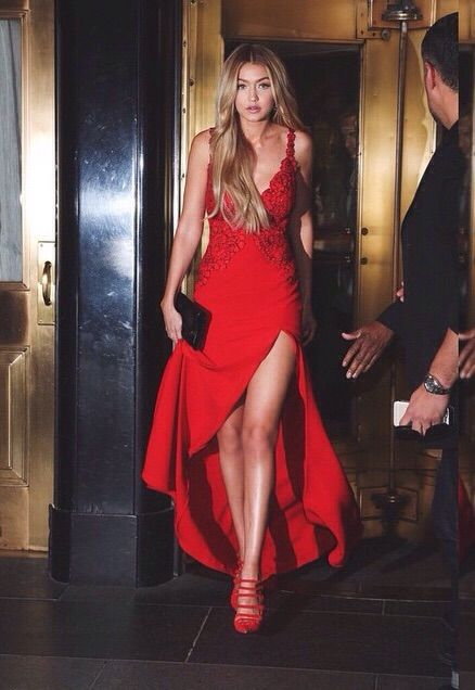 Gigi Hadid in red...