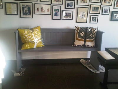 Fabulous upcycle on this church pew on ebay: Grey church pew bench