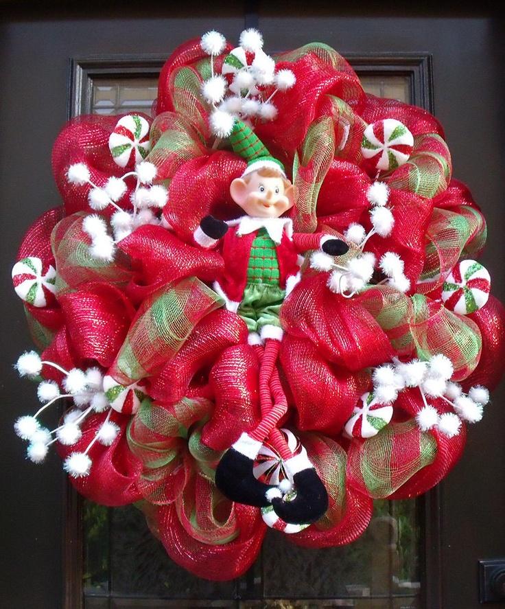 mesh wreaths | Christmas Mesh Wreath, Christmas Wreaths, Candy Christmas Elf Wreath ...