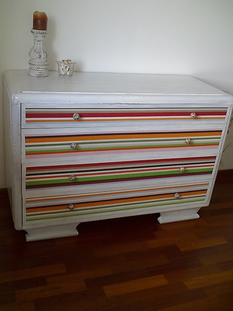 #diyidea #ikea What a great idea, paint the frame and cover the drawer fronts in fabric. They used modge podge, I might use upholstery tacks or staples...