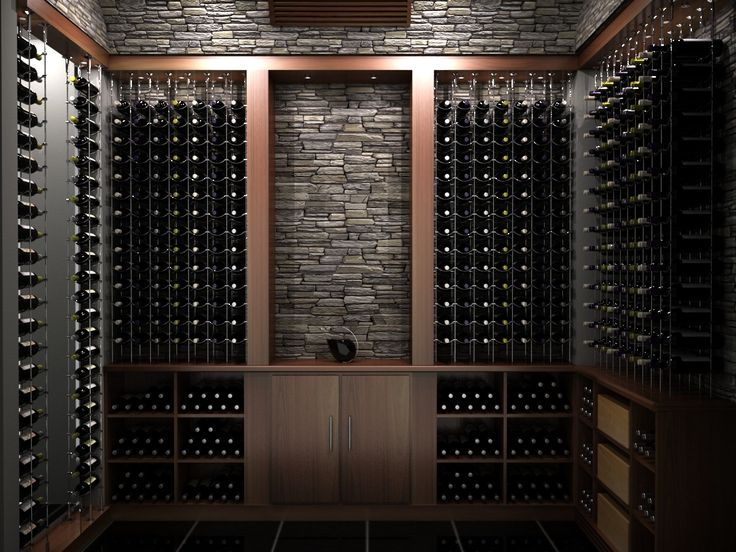 Transitional wood custom wine cellar featuring the cable for Custom wine bar