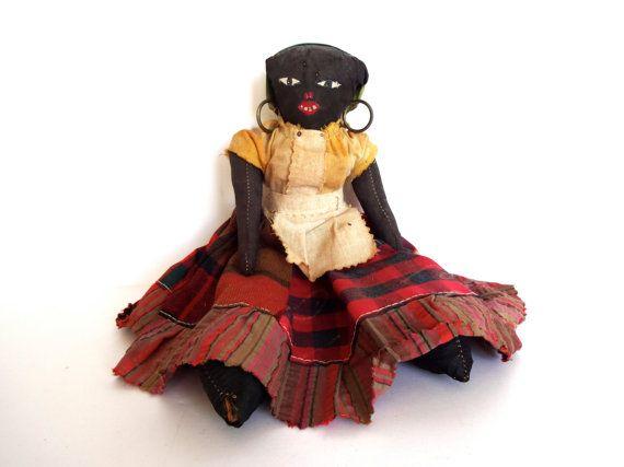 Poupée en tissu vintage noir 1890-1910 / Mammy par LeVieuxSalon