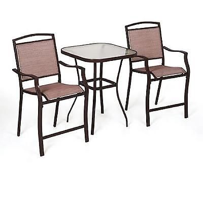 3 Piece Outdoor Bistro Set Table High Chair Garden Backyard Cafe Furniture Tan