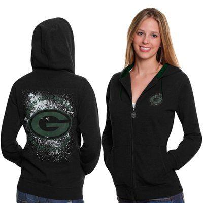 Green Bay Packers Ladies Elite Metallic Fortune Full Zip Hoodie - Black