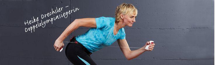 """""""Mithilfe des Pro-X Walkers lassen sich ganz easy und ohne viel Aufwand Oberarm-, Schulter- und Rückenmuskulatur trainieren"""", beurteilt Heike Drechsler das Sportgerät nach einem Testtraining. """"Das Gerät ist sowohl drinnen als auch draußen einsetzbar und wer viel unterwegs ist, kann den kleinen Trainingsgürtel ganz einfach im Gepäck verstauen.""""   Die einfache Handhabung des Pro-X Walkers ist für Drechsler ein zusätzliches Plus."""
